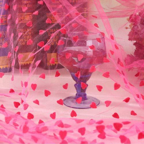 FidgetKute Polka Dot Heart Organza Flocked Tulle Mesh Fabric Lace Dress Tutu Material Decor Heart Fushcia Half Yard (63