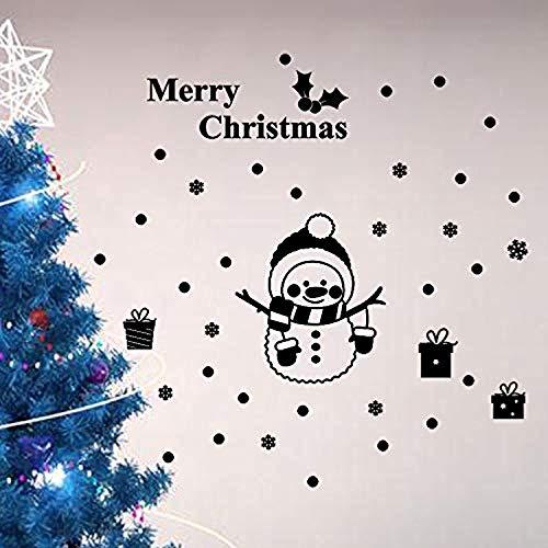 (Cinnamou Merry Christmas Snowflake Snowman Xmas Style Art Mural Bedroom Living Room Office Shop Glass Window XBlack Wall Decals Decor Vinyl Sticker SK19564)