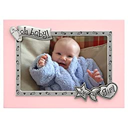 Malden International Designs It\'s A Girl Juvenile Pink With Silver Metal Border Picture Frame, 4x6, Pink