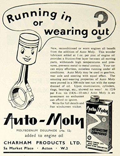 1959 Ad Charham Auto-Moly Engine Oil Additive Car Automobile Garage Petrol YMT2 - Original Print Ad