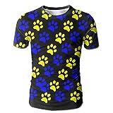 Horizon-t Dog Paw Prints Basketball Men's Shorts T-Shirt 3D Printing T-Shirt