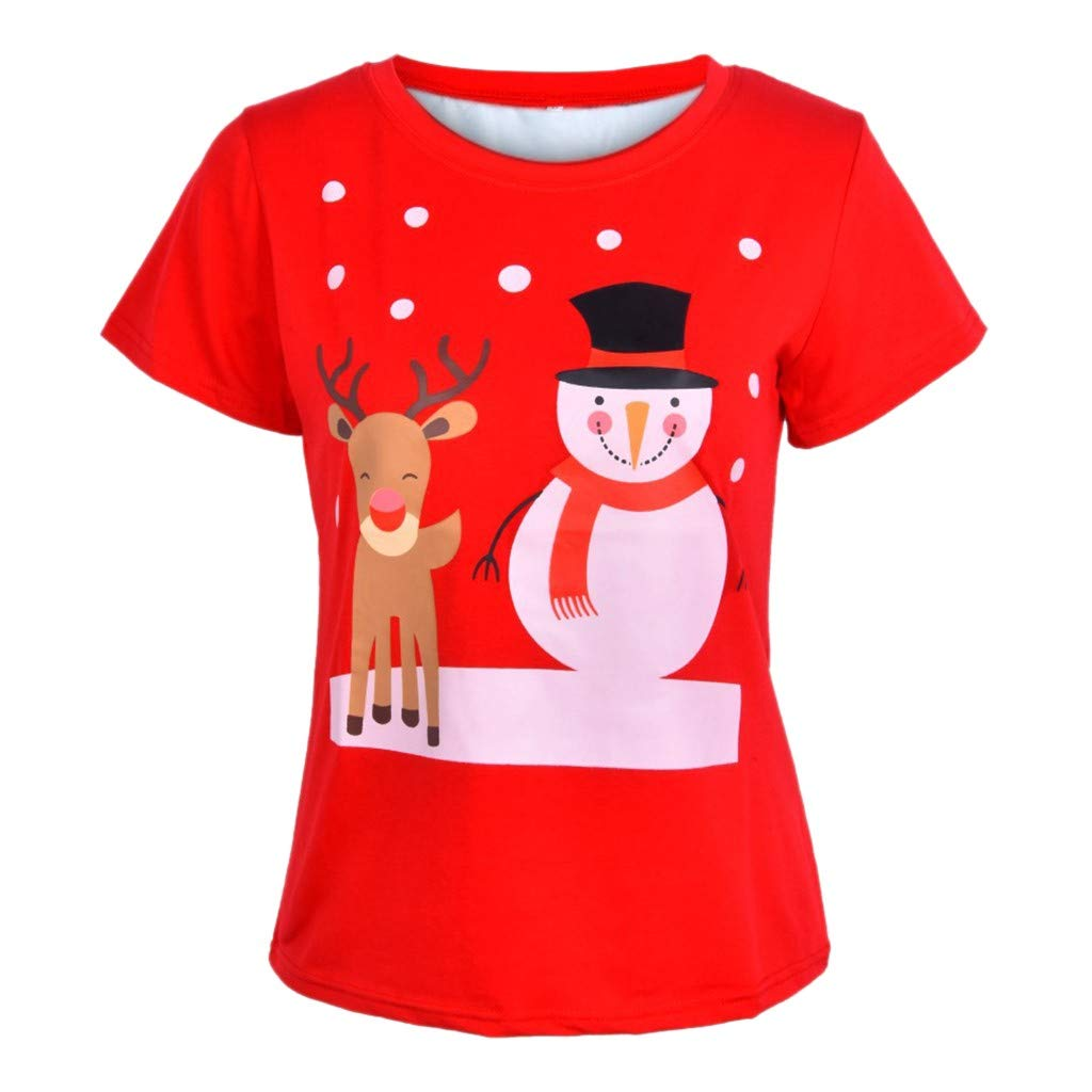 62aab39c209 Amazon.com   Franterd Christmas Plus Size Tops Mens Womens Unisex Short  Sleeve T Shirt Xmas Reindeer Printing Tees Blouse   Sports   Outdoors