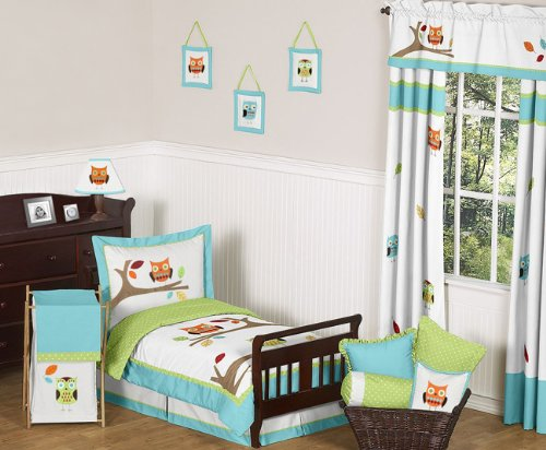 Sweet Jojo Designs 5-Piece Turquoise and Lime Hooty Owl Toddler Boy or Girl Bedding Set