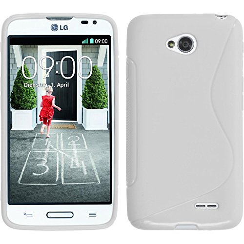 PhoneNatic Silicone Case Compatible with LG L70 - S-Style White Cover + Protective foils