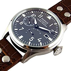 Whatswatch 47mm parnis black dial big pilot power reserve automatic mens Luxury watch PA-01128