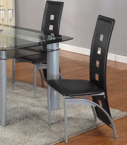 Roundhill Furniture Cinda Metal Contemporary Dining Room Chairs, Black, Set of 2