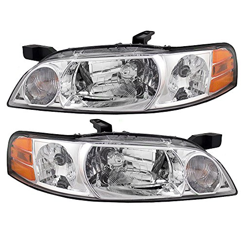 2001 Nissan Altima Headlight - Pair Set Halogen Combination Headlights Headlamps Replacement for Nissan Altima 26060-0Z825 26010-0Z825