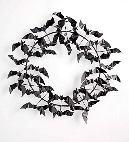 Wind & Weather Metal Halloween Wreath Bats - 29 Dia. x 5 D ()