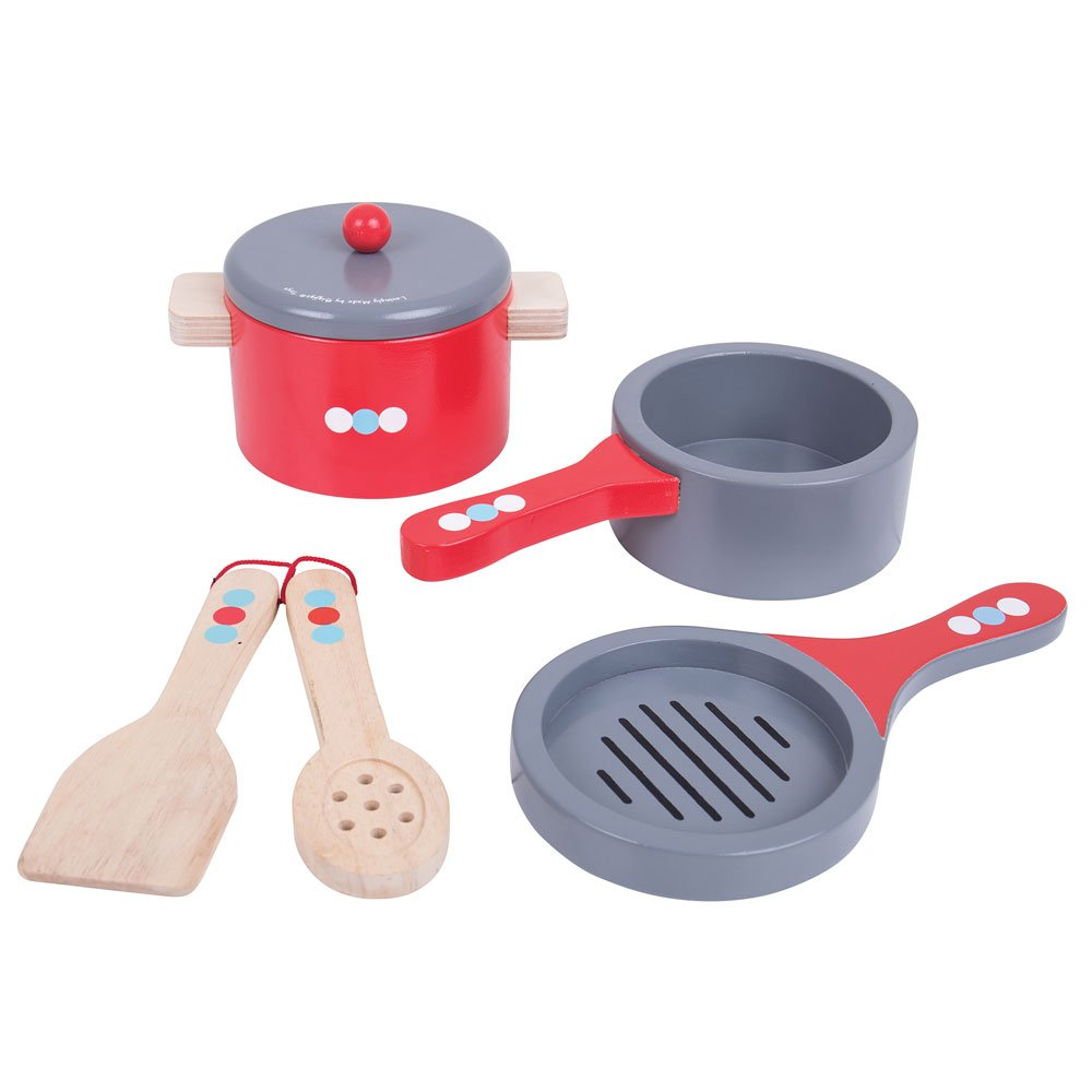 Bigjigs Toys Wooden Cooking Pans Set with Wooden Spoon and Spatula - Pretend Play and Role Play for Children by Bigjigs Toys