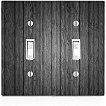 Black Wood Grey Wooden Old Vintage Background Double Light Switch Plate