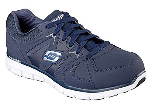Skechers Men's Work Relaxed Fit Synergy Ekron Alloy Toe Lace Up,Navy,US 7.5 M