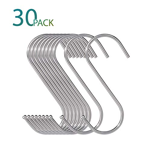 30 Pack Large S Hooks, S Shaped Hook for Hanging, S Hangers for Kitchen, Office, Bathroom, Garden and Cloakroom