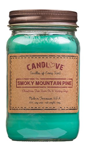 CANDLOVE Smoky Mountain Pine Scented Candle 16 Oz Mason Jar - 100% Soy - Made In The USA
