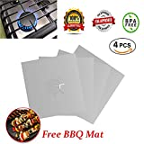 Gas Range Protectors, Reusable Stove Burner Covers, Gas Cook top Cover, Non Stick- Hob Stove top Liner Cover with 1 BBQ Mat - FREE - 10.6'' x 10.6'' -0.12 mm thick, FDA Approved (4 PACK -Silver)