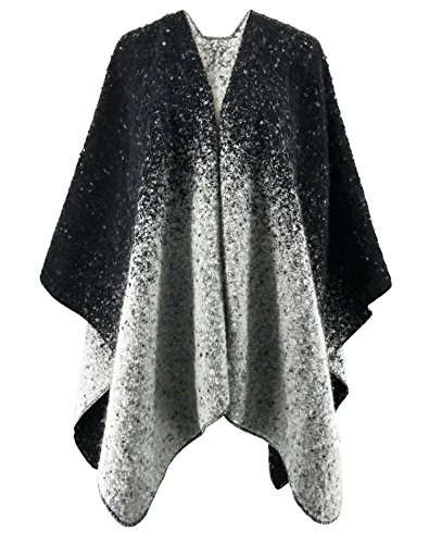 SAMGOO Women's Winter Knitted Cashmere Poncho Cape Reversible Blanket Wraps Shawl Open Front Cardigans (Black & White Gradient)