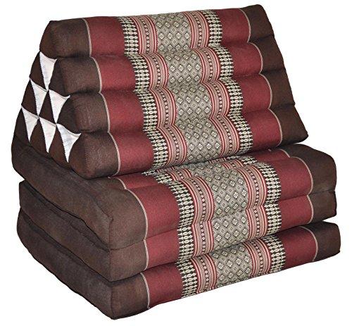 Foldout Triangle Thai Cushion Three Fold, Brown/Burgundy by BRAIN GAMES