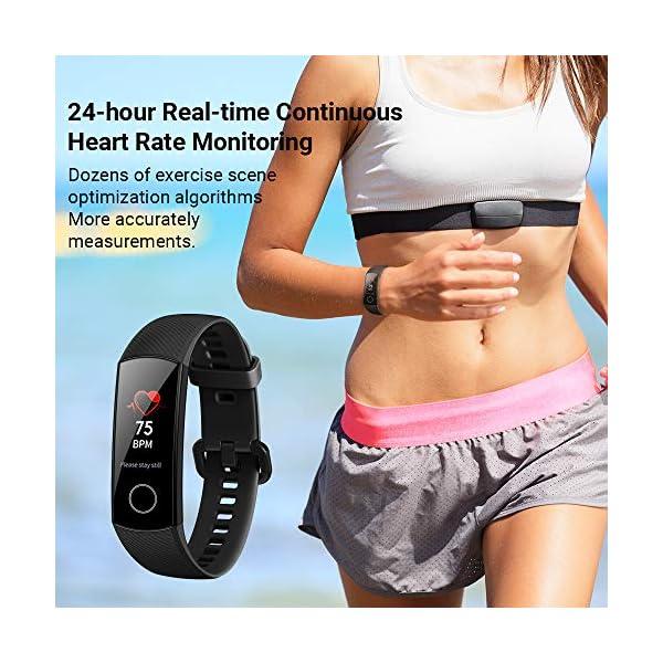 HONOR Band 5 Bracelet Intelligent 0,95″Grand Full Color AMOLED Affichage Fitness Surveillance Intelligente 5ATM Montre Smart Watch Imperméable À l'eau, Rose