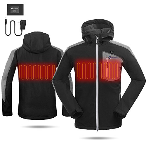 OUTCOOL Men's Soft Shell Heated Jacket Kit With Hood Waterproof Windproof Winter Jacket(XL) by OUTCOOL (Image #4)