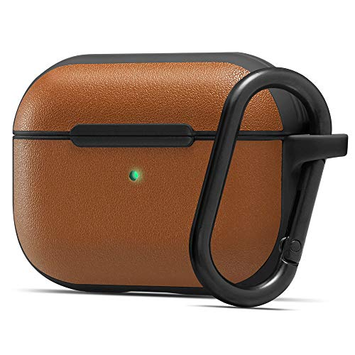 Cyrill by Spigen [Leather Brick Series] Designed for Apple AirPods Pro Case Cover – Saddle Brown