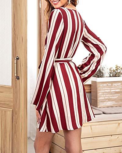 Manica Abito Lunga A StripecolorBlackSize Haxibkena Cintura Sexy Con V LRed Mini Scollo lOXuTwZPki