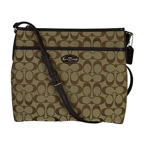 Coach 12CM Signature File Bag - Khaki/Mahogany