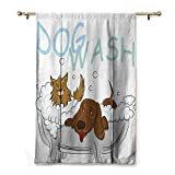 S Brave Sky Customized Roman Curtains,Nursery Decor Collection,Playful Dogs Bathing in a Bathtub Bath Time Grooming Clean Pets Theme Illustration,White Brown Blue