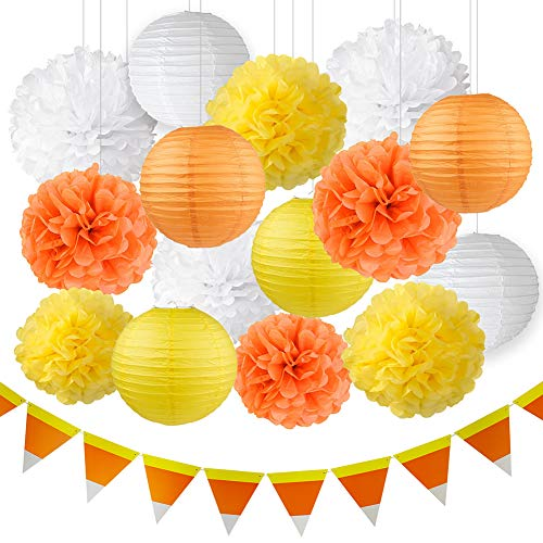 Thanksgiving Decorations Fall Decorations Autumn Decorations Kit Orange Yellow White Hanging Tissue Paper Pom Poms Paper Lanterns Halloween Candy Corn Banner Fall Wedding Decorations (Halloween Hanging Candy)