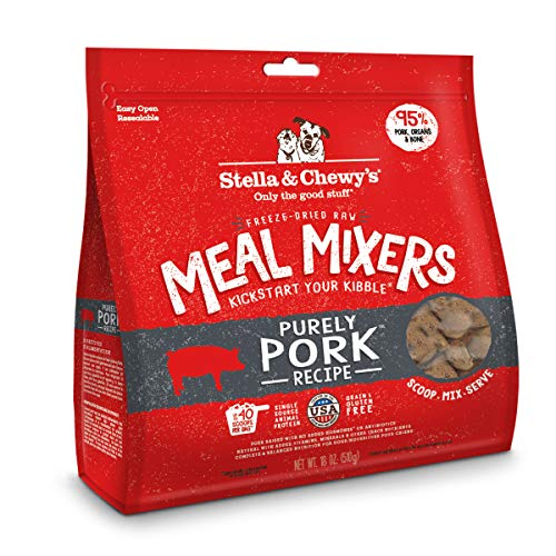 (Stella & Chewy's Freeze-Dried Raw Purely Pork Meal Mixers Dog Food Topper, 18 oz)