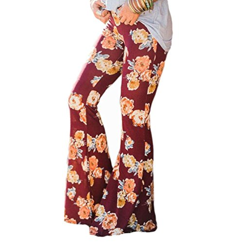 Slinky Halter Long Dress (Elevin(TM) Womens Ankle Length Printed Stretch Flare Bell-bottoms Pants Trousers (XL, Red))