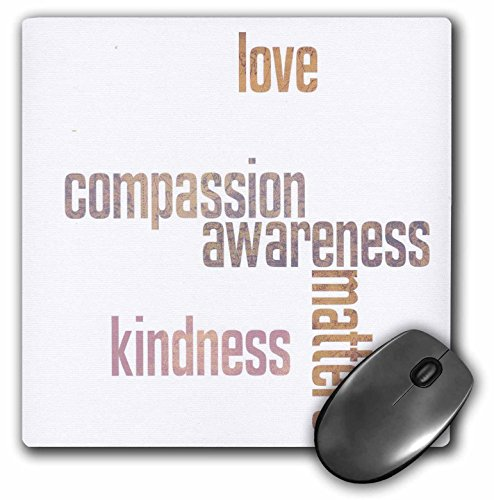 3dRose Pastel Map Love and Kindness Matters Inspirational Quotes Mouse Pad (mp_33724_1)