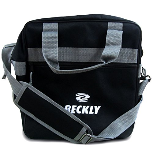 (Beckly Super Bowling Tote -Bowling Bag- Fits Your Bowling Ball and Bowling Shoes- Single Bowling Ball Tote- Front Zippered Pocket and inside Shoe Sleeves-Carry and Shoulder Straps-For your Home Bowling Alley or At the Professional Arena- Perfect Bowling equipment- Great Holiday gift For bowling pro or rookie- Made from the Highest Quality Material and Superior craftsmanship- Superior quality bowling ball sports bag- Backed by the Famous Beckly money Back Guarantee!, Black)