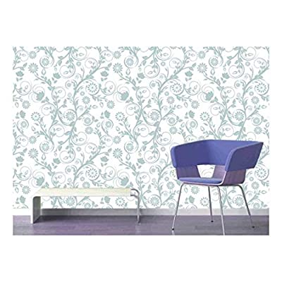 Incredible Handicraft, Created By a Professional Artist, Large Wall Mural Seamless Floral Pattern Vinyl Wallpaper Removable Decorating