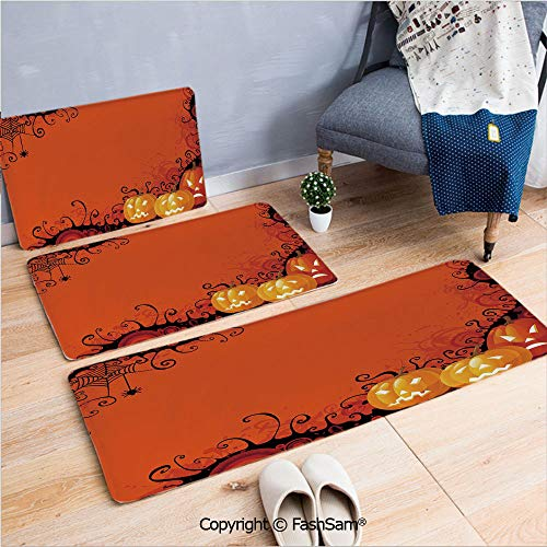 (3 Piece Fashion Flannel Door Mat Carpet Three Halloween Pumpkins Abstract Black Web Pattern Trick or Treat Decorative for Door Rugs Living Room(W15.7xL23.6 by W19.6xL31.5 by)