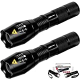 LuxPower Tactical V1000 LED Flashlight [2 PACK] - Best High Lumen Handheld Light - Portable, Zoomable, Water & Shock Resistant - Ideal for Outdoors, Home, Emergency, or Gift-Giving