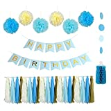 Fantastic Baby Blue Cream Blue Snow Theme Happy Birthday banner kit for Baby ...