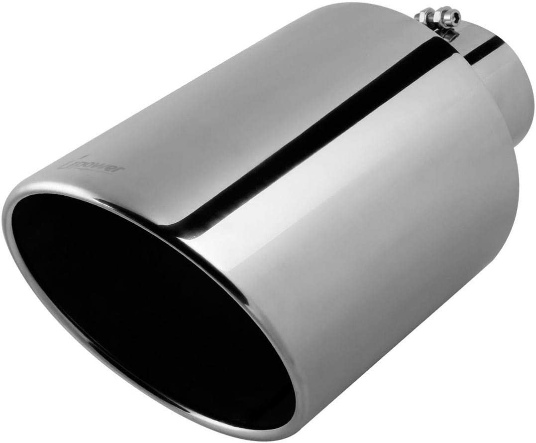 """Roll End Exhaust Tip 4/""""Inlet 5/""""Outlet 12/"""" Length Stainless Steel Black"""