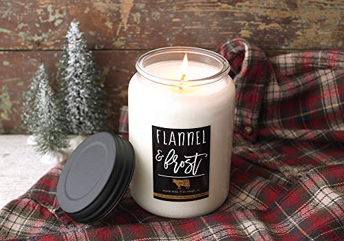Milkhouse Candle Farmhouse Collection, 26 Ounce Canning Jar, Flannel and Frost