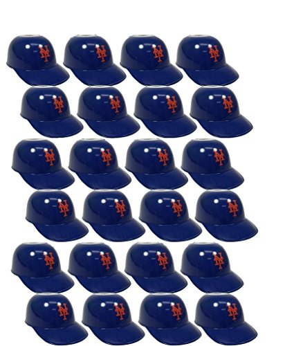 Snack Helmet (MLB Mini Batting Helmet Ice Cream Sundae/ Snack Bowls, NY Mets - 24 Pack)