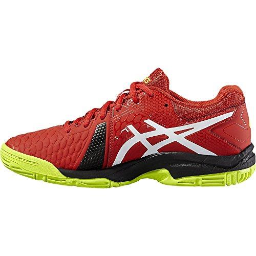 Gel Asics Explosion 7 Hommes Chaussures Dintérieur Rouge / Blanc / Jaune Pour Squash, Badminton, Racquetball