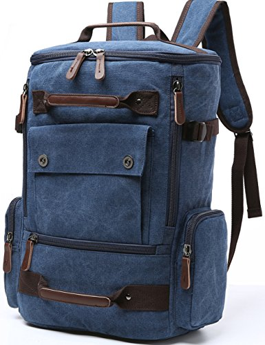 Canvas Backpack, Aidonger Vintage Canvas School Backpack Hiking Travel Rucksack Fits 15'' Laptop (Dark Blue) (16 Dbl Box)