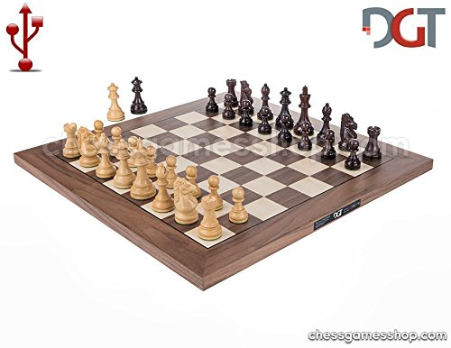 DGT USB Walnut eBoard with Royal pieces - Electronic chess by DGT e-board