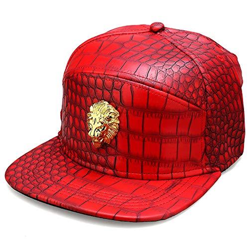 del de de de Snapback MCSAYS Hombre plana la león manera cabeza de sombrero la cuero Gorra HipHop PU Rojo béisbol patrón ala del de cocodrilo sombrero del qan8TgqrP