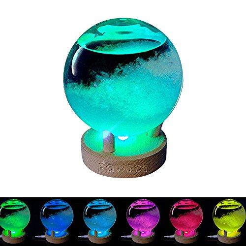 Pawaca Storm Glass Barometer with LED Lights, Large Desktop Weather Forecaster Predictor Crystal Globe Bottle, Elegant Craft Home Decoration and Gift for Birthday, Christmas, Thanksgiving Festival