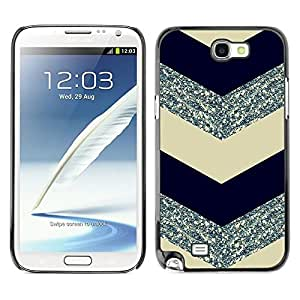 LOVE FOR Samsung Note 2 N7100 Chevron Pattern Glitter Silver Black Personalized Design Custom DIY Case Cover