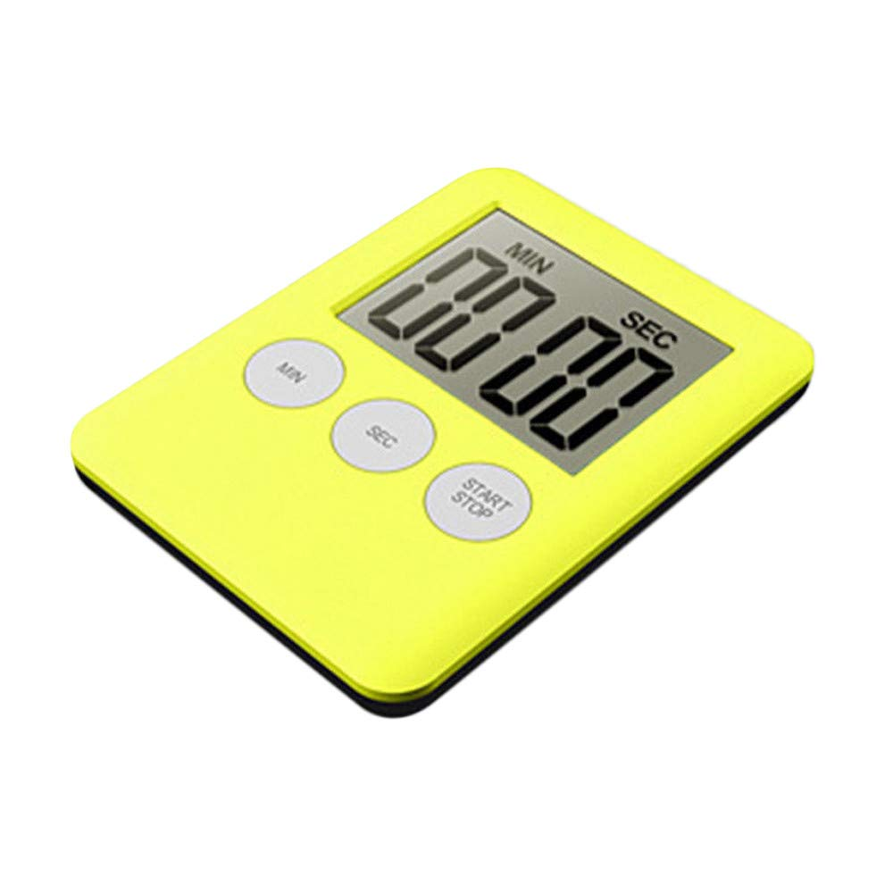 Kitchen Count Timer, Creazy Large Digital LCD Kitchen Cooking Timer Count-Down Up Clock Alarm Magnetic (Yellow)
