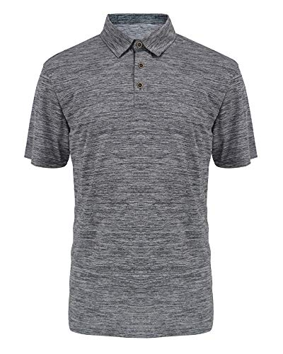 (Men's Performance Polo Shirt Moisture Wicking Golf Polo Quick Dry 3-Button Collared Casual T-Shirt Light Grey)