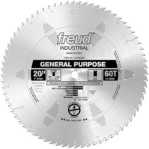 20 Tooth Atb Saw Blade - Freud LU72M020 20-Inch 72 Tooth ATB General Purpose Saw Blade with 1-Inch Arbor