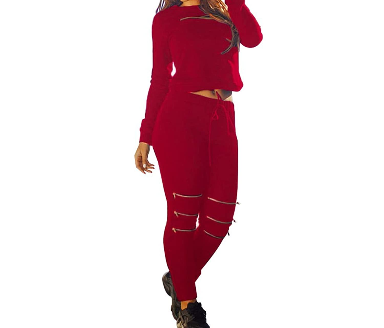 FQHOME Womens Red Fashion Sporty Zipped Pants Set
