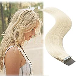 Tape in Hair Extension Human Hair Platinum Blonde (#60) 16''Long Straight 100% Remy Human Hair Bonding Double Sided Tape Seamless Skin Weft Hair 20pcs/30g