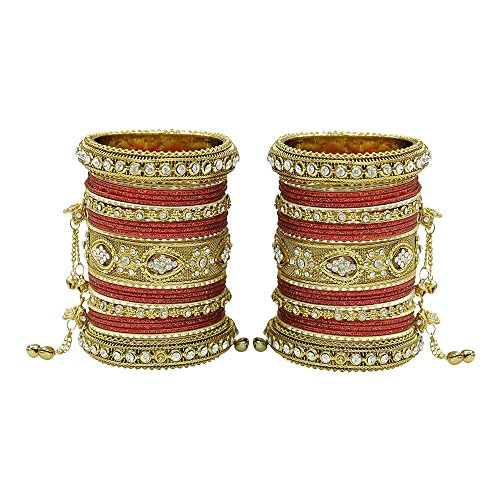 MUCH-MORE Women Amazing Traditional Fashion Multi Color Bangles Indian Party wear Jewelry (Maroon, 2.6)